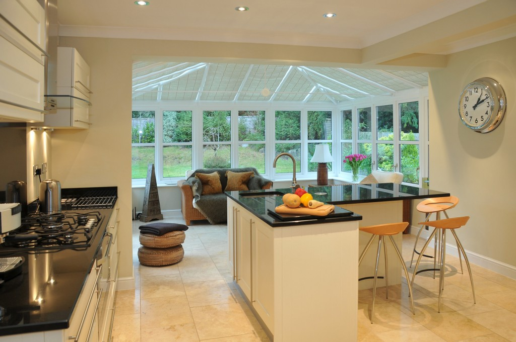 Interior of a modern kitchen with conservatory
